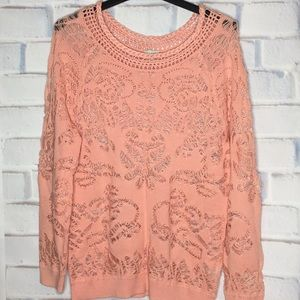 Hinge Coral Small Cutout Open Knit Sweater